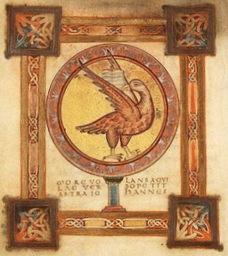 This illustration is from the Egmond Gospels, a 10th century manuscript.  The eagle is the symbol associated with John and the fourth Gospel.