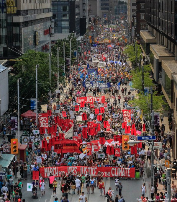 On July 5th more than 10,000 people gathered in Toronto, the traditional territories of the Missisauga peoples, for the March for Jobs, Justice and the Climate. The march told the story of a new economy that works for people and the planet. People marched for an economy that starts with justice, creates good work, clean jobs and healthy communities. The people recognize that we have solutions and we know who is responsible for causing the climate crisis.