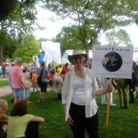 Diane Marshall at the March for Jobs, Justice, and the Climate