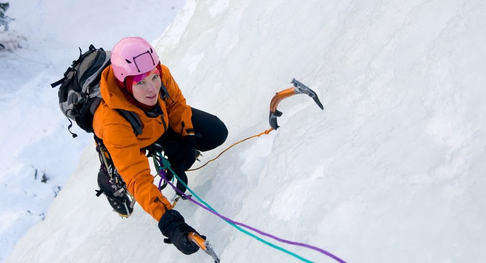 """Ice Climbing Woman"" Image by Marek Cech"